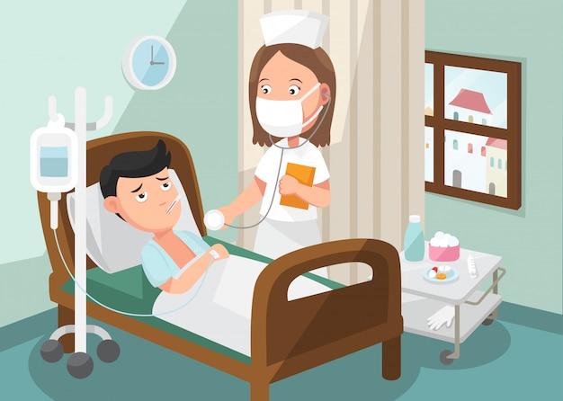 La enfermera cuidando al paciente en la sala de hospital.