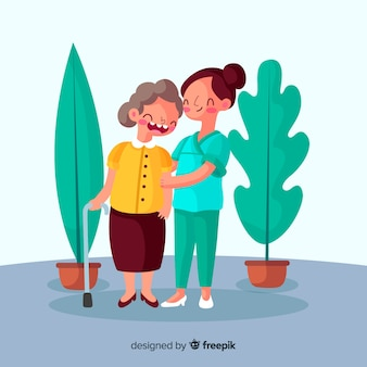 Enfermera cuidando paciente dibujos animados