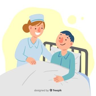 Enfermera dibujada a mano ayudando paciente