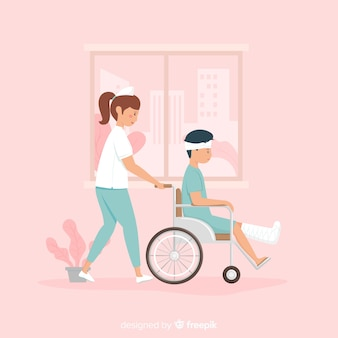 Enfermera dibujada a mano ayudando a paciente