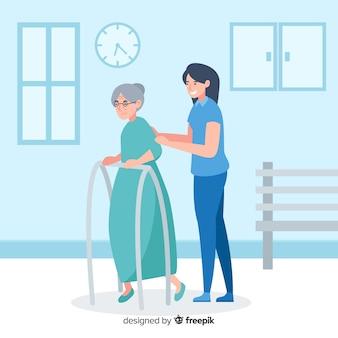 Enfermera flat ayudando paciente