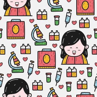 Enfermera, garabato, caricatura, patrón, diseño