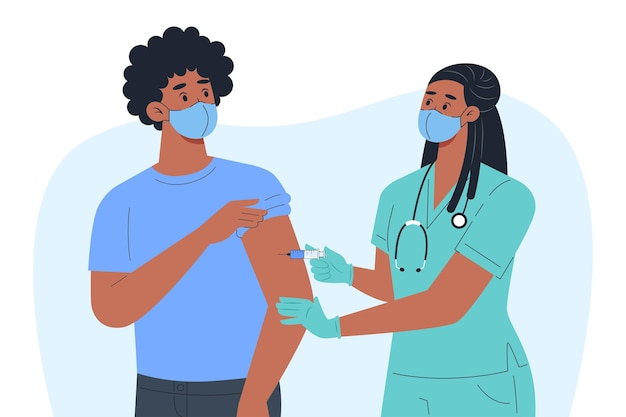 Una enfermera con máscara y guantes hace una vacuna para un paciente masculino