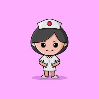 Enfermera con mascota de personaje de logotipo uniforme blanco