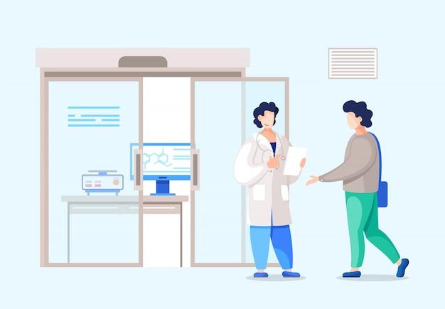 Enfermera, médico o administrador de pie con el paciente en la recepción en el hospital