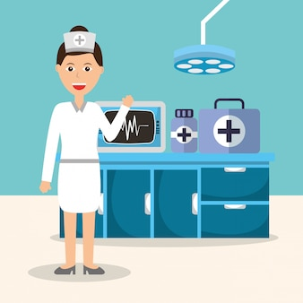 Enfermera de monitoreo máquina medicina farmacia