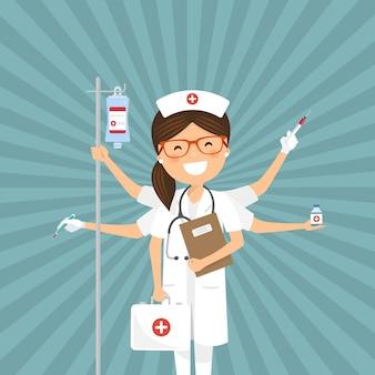 Enfermera multitarea personaje con rayos de sol.