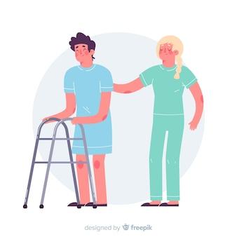 Enfermera con paciente dibujado a mano