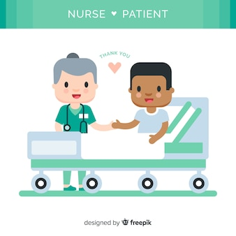 Enfermera con paciente en diseño plano