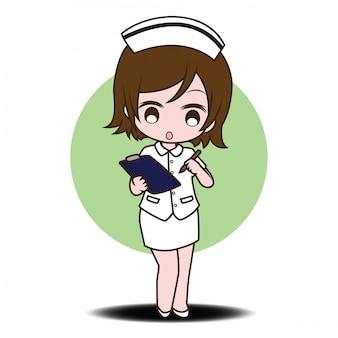 Enfermera de personaje de dibujos animados lindo.