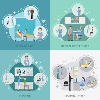 Enfermera de salud elementos y personajes.