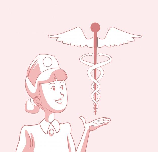 Enfermera con símbolo médico del caduceo