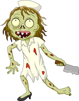 Enfermera zombie de dibujos animados sobre fondo blanco
