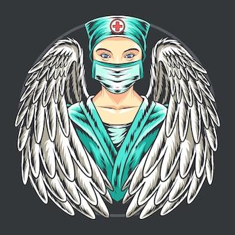 Enfermeras ángel con máscaras.
