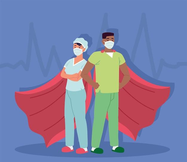 Enfermeras máscaras médicas capas de superhéroe