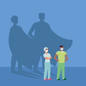 Enfermeras médicas máscaras héroes sombras