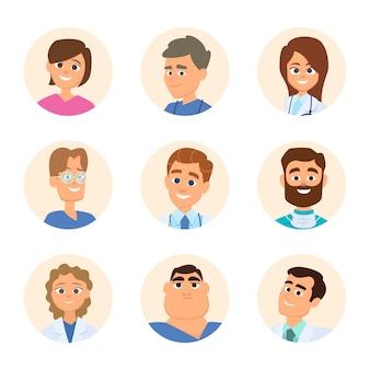 Enfermeras médicas y médicos avatares en estilo de dibujos animados.