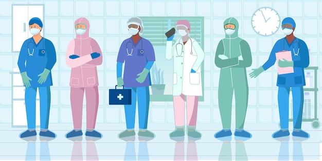 Enfermeras, trabajadores de la salud, médicos, asistentes, ropa protectora, uniforme, equipo, composición plana