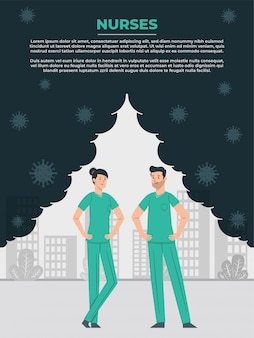 Enfermero y enfermera ayudando al mundo a ganar la lucha contra el coronavirus