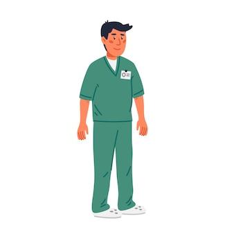 Enfermero o asistente de sala en matorrales verdes