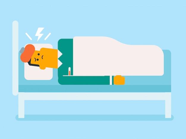 Enfermo hombre blanco caucasain tendido en la cama. | Vector Premium