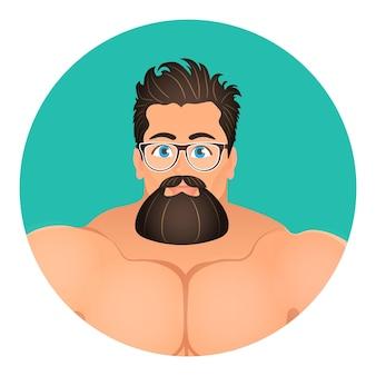 Se enfrenta a avatar en círculo. retrato brutal joven barbudo hipster masculino en anteojos. ilustración vectorial eps 10. estilo de dibujos animados plana