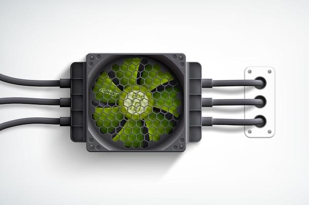 Enfriador de computadora realista con concepto de diseño de ventilador verde sobre blanco