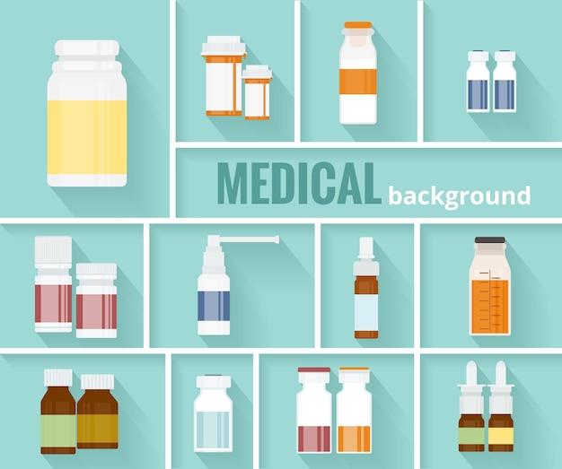 Enfriar varios frascos de medicamentos de dibujos animados para el diseño gráfico de antecedentes médicos.