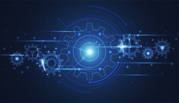 Engranaje abstracto que conecta la tecnología del fondo de la ciencia