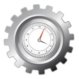 Engranaje de plata con reloj sobre fondo blanco
