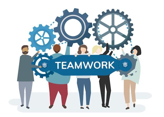 Engranajes de rueda dentada que retratan el concepto de trabajo en equipo
