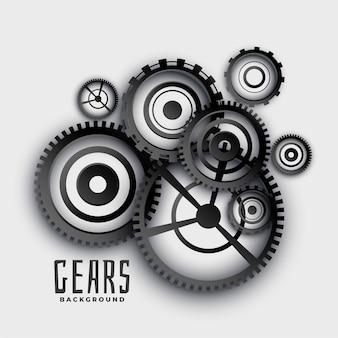 Engranajes y ruedas dentadas en el fondo de estilo 3d