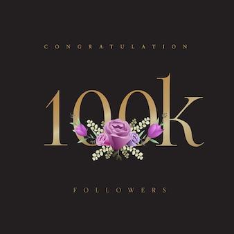 Enhorabuena 100k seguidores diseño