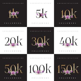 Enhorabuena colecciones de plantillas de diseño de números de seguidores