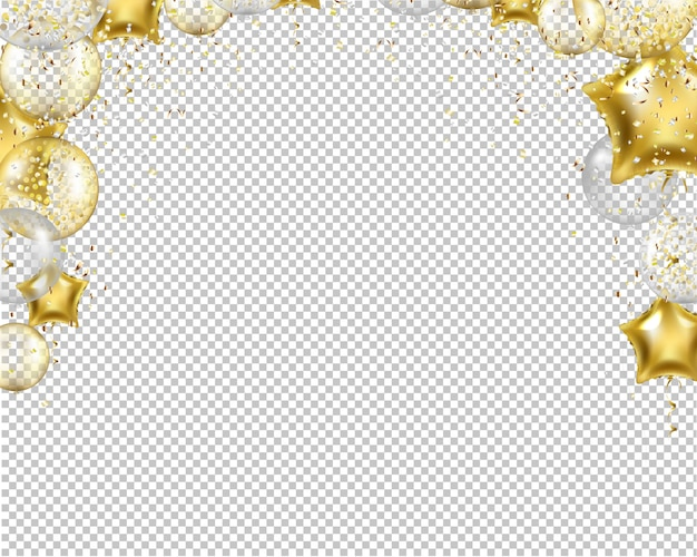 Enhorabuena frontera con globos de oro en transparente
