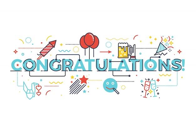 Enhorabuena palabra por concepto de celebración, ilustración de diseño de letras de palabra