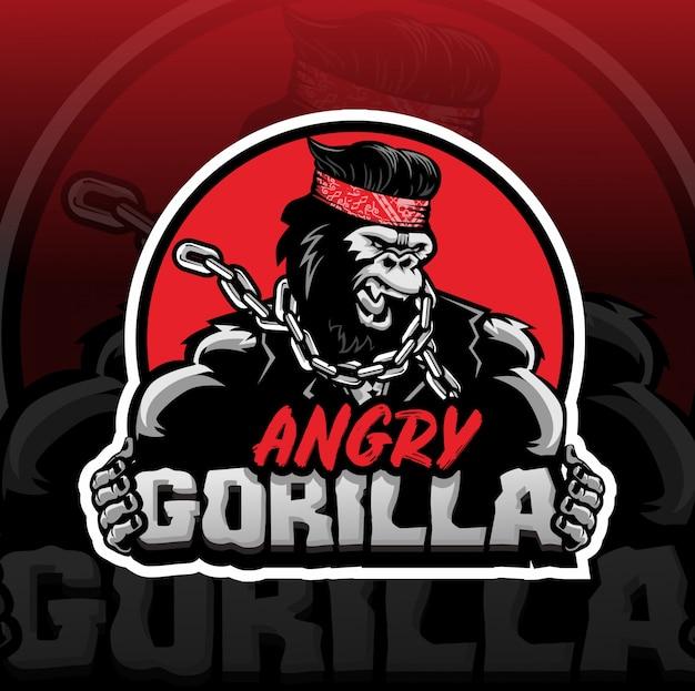 Enojado gorila mascota logo esport