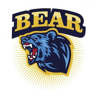 Enojado grizzly bear roaring logo mascota, dibujos animados
