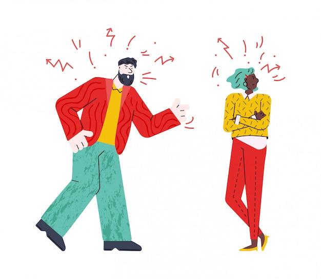 Enojado pareja teniendo una pelea - dibujos animados joven hombre y mujer con caras locas
