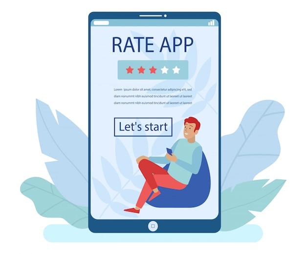 Enorme pantalla móvil con página de destino de la aplicación rate