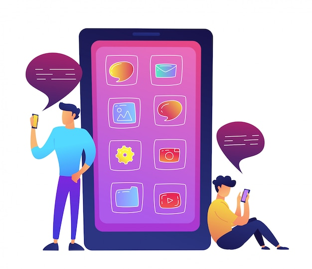 Enorme teléfono inteligente con iconos de aplicaciones y dos usuarios que se comunican con las redes sociales ilustración vectorial.