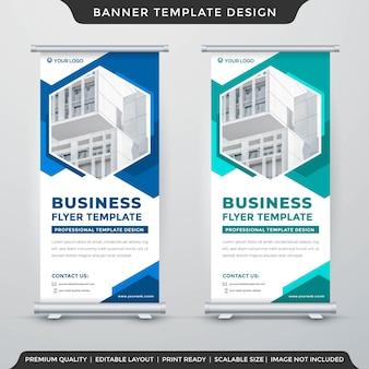 Enrollar el diseño de la plantilla de banner con uso de estilo abstracto para anuncios de exhibición