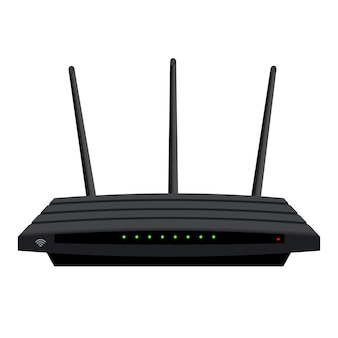 Enrutador wi-fi realista con tres antenas aisladas en blanco. led verdes en la carcasa negra. dispositivo para la distribución inalámbrica de internet. eps vectoriales 10.