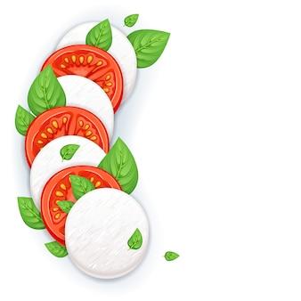 Ensalada caprese - hojas de mozzarella, tomate y albahaca.