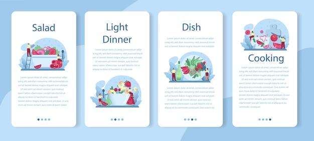 Ensalada fresca en un conjunto de banner de aplicaciones móviles de cuenco. peopple cocinando alimentos orgánicos y saludables. ensalada de frutas y verduras.