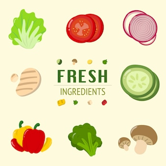 Ensalada fresca ingredientes contenedor tomate cebolla verduras