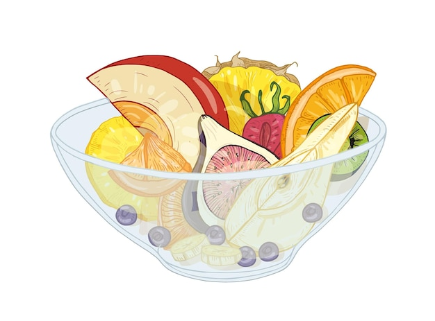 Ensalada de frutas exóticas tropicales en un recipiente aislado en blanco