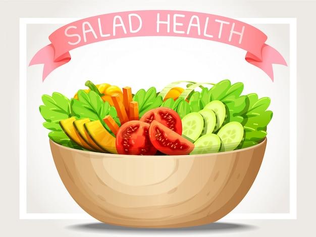 Ensalada vegetal de salud y cinta rosa en la parte superior.
