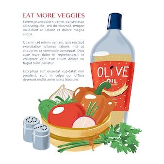 Ensalada de verduras, aceite de oliva, perejil, sal, pimienta