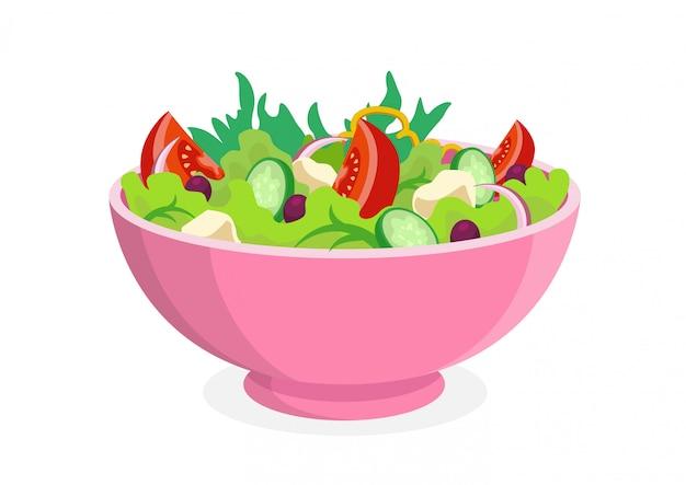 Ensalada de verduras frescas en un tazón de cerámica.